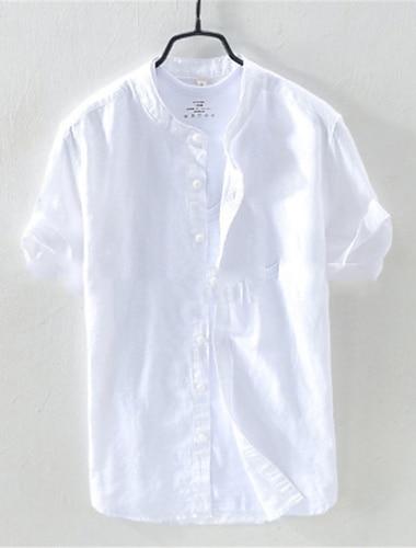 Homens Camisa Social Tecido Manga Curta Casual Blusas Algodao Simples Casual Respiravel Confortavel Amarelo Claro Cinza / Marinho Amarelo / Colarinho Chines