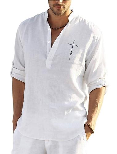 Per uomo Camicia Liscio Manica lunga Casuale Top Semplice Casuale Traspirante Comodo Grigio Verde Bianco / Colletto alla coreana / Cotone