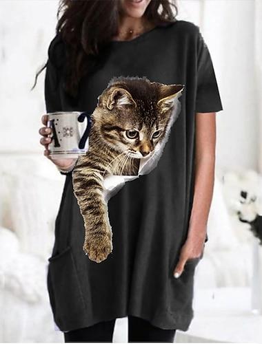 Dámské 3D kočka Tričkové šaty Kočka Grafika 3D Kulatý Topy Základní Základní top Černá Fialová Armádní zelená