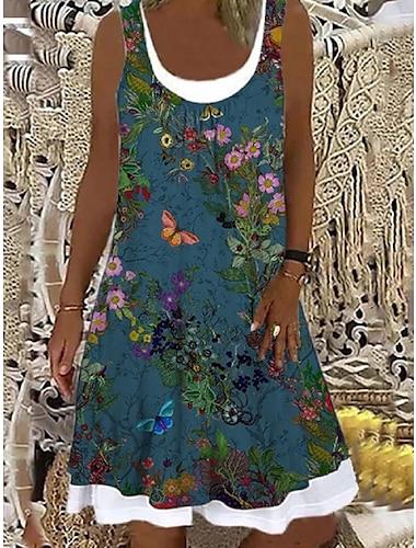 Mujer Vestido de cambio Vestido hasta la Rodilla Verde Trebol Sin Mangas Floral Estampado Primavera Verano Escote Barco Casual Festivos 2021 S M L XL XXL 3XL