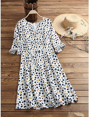 Women\'s Wrap Dress White Black Long Sleeve Polka Dot Leopard Graphic Prints Print Round Neck Basic S M L XL 2XL