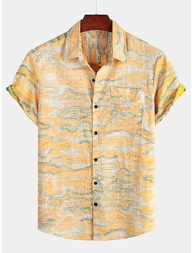 Men\'s Shirt Tribal Short Sleeve Daily Tops Cotton Basic Boho Classic Collar Light Yellow / Beach