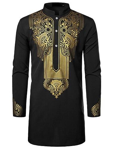 Муж. Рубашка Этно С принтом Длинный рукав Для вечеринок Верхушки Классический Уличный стиль Круглый вырез Тёмно-синий Белый Черный