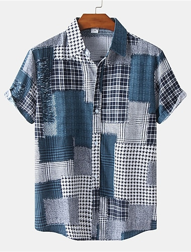 Men\'s Shirt Color Block Button-Down Short Sleeve Casual Tops Casual Fashion Breathable Comfortable Blue Gray Coffee / Beach
