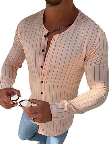 Homens Camisa Social Listrado Botao para baixo Manga Longa Casual Blusas Algodao Casual Moda Respiravel Confortavel Decote Redondo Rosa
