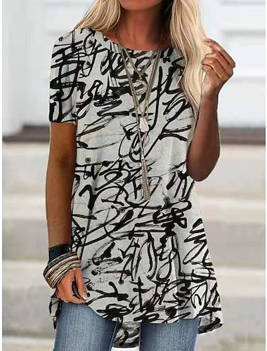 Női Póló Falfirkálás Nyomtatott Kerek Felsők Alap Alapvető felső Fekete