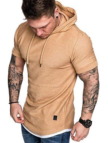 Miesten T-paita ei-tulostus Yhtenäinen väri Lyhythihainen Päivittäin Topit Yksinkertainen Valkoinen Musta Armeijan vihreä