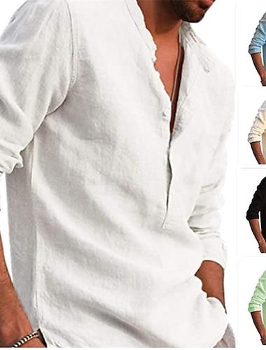 Per uomo Camicia Tinta unita Bottone giu Manica lunga Casuale Top Casuale Di tendenza Traspirante Comodo Bianco Nero Cachi