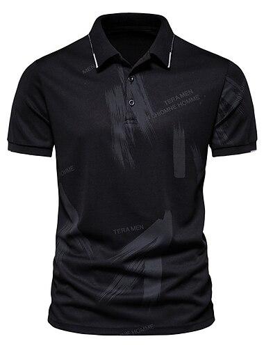 Męskie Koszula golfowa Koszula tenisowa Litera Przycisk w dół Krótki rękaw Ulica Najfatalniejszy Bawełna Biznes Codzienny Wygodny Biały Czarny