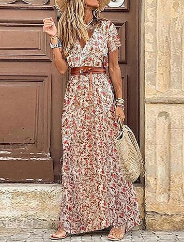여성용 스윙 드레스 맥시 드레스 그레이 클로버 루비 짧은 소매 플로럴 가을 봄 V 넥 캐쥬얼 2021 S M L XL 2XL 3XL