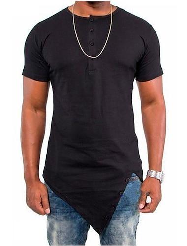 Miesten T-paita ei-tulostus Yhtenäinen Yhtenäinen väri Lyhythihainen Kausaliteetti Topit Vapaa-aika Vintage Valkoinen Musta Tumman harmaa