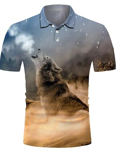 Men\'s Golf Shirt Tennis Shirt 3D Print Wolf Animal Button-Down Short Sleeve Street Tops Casual Fashion Cool Breathable Gray / Sports