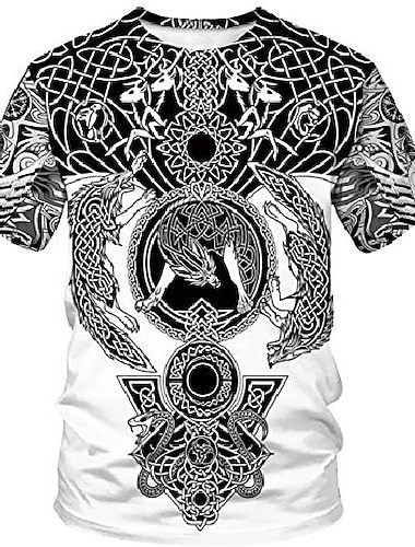 duolifu unisexe 3d imprime cool vikings tatouage chemisier mythologie nordique t-shirt tops, loup fenrir, s