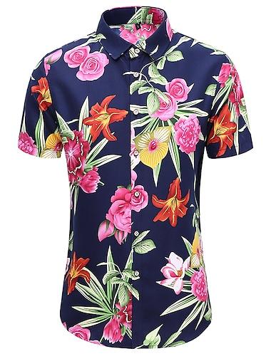 Pánské Košile Další tisky Květinový Větší velikosti Tisk Krátký rukáv Ležérní Topy Havajské Tmavě zelená Námořnická modř / Léto