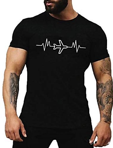мужские летние футболки с принтом самолетов удобные футболки графические футболки с круглым вырезом топы