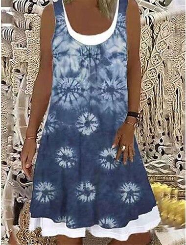Mujer Vestido de una linea Vestido hasta la Rodilla Denim de imitacion Sin Mangas Estampado Primavera Verano Casual / Diario 2021 S M L XL XXL XXXL