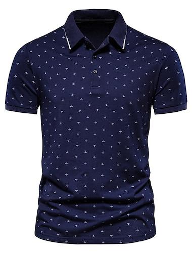 Męskie Koszula golfowa Koszula tenisowa Inne nadruki Groszki Krótki rękaw Codzienny Najfatalniejszy Prosty Klasyczny Wino Biały Granatowy