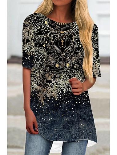 Dámské Tričkové šaty Krátké mini šaty Černá Poloviční rukáv Květinový Tisk Tisk Jaro Léto Kulatý Na běžné nošení Dovolená 2021 S M L XL XXL 3XL