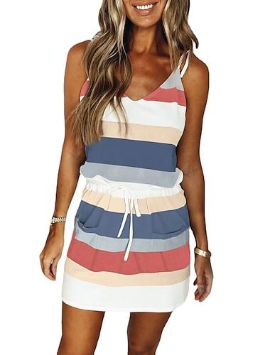Women\'s Strap Dress Short Mini Dress Blushing Pink Dark Green Navy Blue Violet Sleeveless Striped Color Block Drawstring Lace up Spring Summer V Neck Casual 2021 S M L XL XXL XXXL / Acrylic Fibers