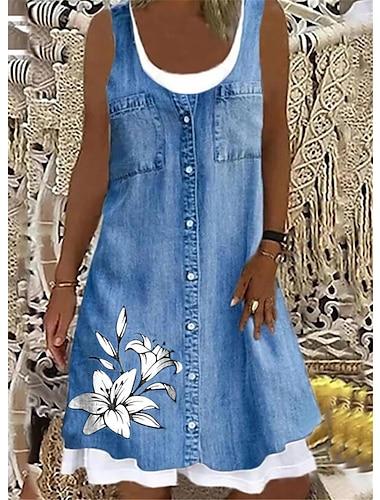 Mujer Vestido estilo camiseta Vestido hasta la Rodilla Color del dril de algodon Sin Mangas Estampado Bolsillo Boton Primavera Verano Escote Redondo Casual / Diario 2021 S M L XL XXL XXXL