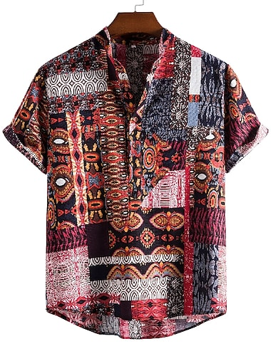 Men\'s Shirt Other Prints Graphic Short Sleeve Daily Tops Ethnic Style Brown / Summer / Stand Collar