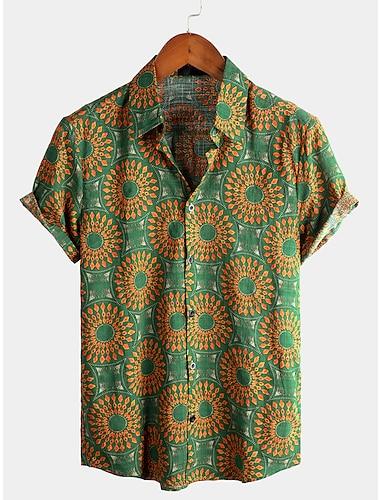 Men\'s Shirt Tribal Short Sleeve Daily Tops Cotton Basic Boho Classic Collar Green / Beach