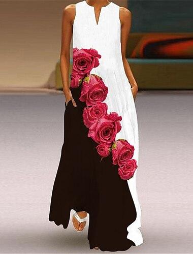 Női Swing ruha Maxi hosszú ruha Arcpír rózsaszín Szürke Fehér Fekete Rubin Ujjatlan Virágos Állat Nyomtatott Nyár V-alakú Elegáns Alkalmi 2021 S M L XL XXL 3XL 4XL 5XL