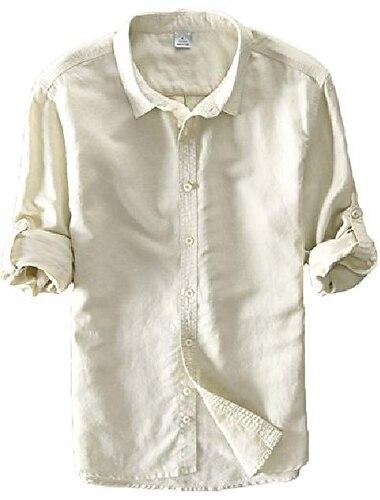 utcoco camicie casual da uomo per tutte le stagioni a manica lunga con bottoni sul davanti (piccolo, kaki)