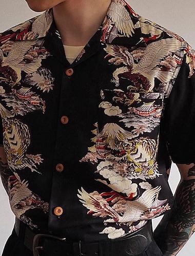 Per uomo Camicia Uccello Bottone giu Manica corta Casuale Top Stile cinese Casuale Di tendenza Traspirante Nero