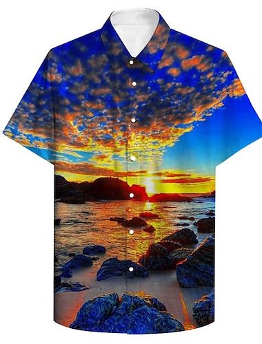 Męskie Koszula Druk 3D Sceneria Puszysta Druk 3D Przycisk w dół Krótki rękaw Codzienny Najfatalniejszy Codzienny Moda Oddychający Wygodny Niebieski / Sport