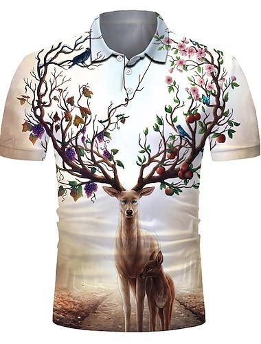 Homens Camisa de golfe Camisa de tenis Impressao 3D Cada Animal Botao para baixo Manga Curta Rua Blusas Casual Moda Legal Respiravel Bege / Esportes