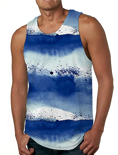 Hombre Camiseta sin mangas Camisetas Interiores Impresion 3D A Rayas Tie-dye Estampados Estampado Sin Mangas Diario Tops Casual De Diseno Grande y alto Azul Piscina