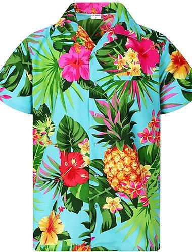Pánské Košile Rostliny Ananas Tlačítko dolů Krátký rukáv Ležérní Topy Lehký Na běžné nošení Módní Prodyšné Vodní modrá