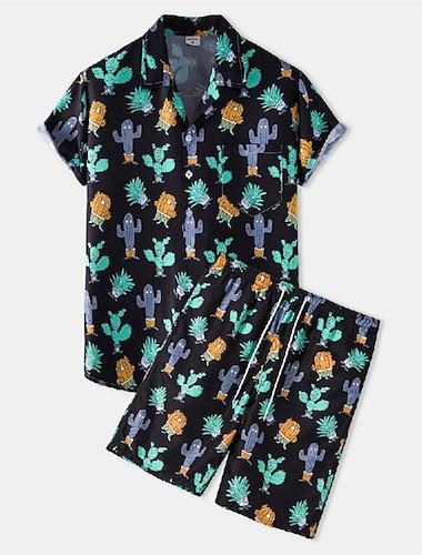 Herre Skjortedragter Skjorte Kaktus Knap ned Kortærmet Afslappet Toppe Bomuld Afslappet Mode Hawaiiansk Åndbart Sort