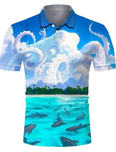 Homens Camisa de golfe Camisa de tenis Impressao 3D Cenario Polvo Botao para baixo Manga Curta Rua Blusas Casual Moda Legal Respiravel Azul / Esportes