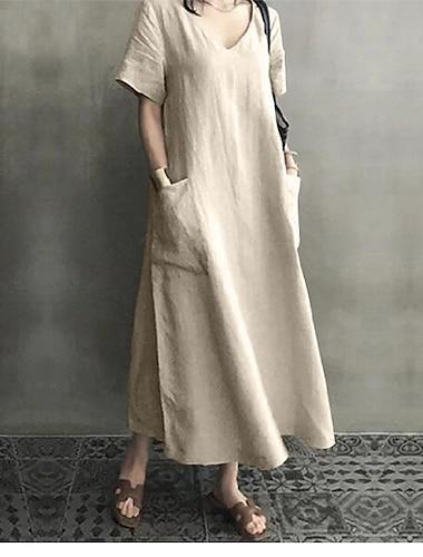 Γυναικεία Κοντομάνικο φόρεμα Μίντι φόρεμα Ανθισμένο Ροζ Μαύρο Σομόν Κοντομάνικο Συμπαγές Χρώμα Τσέπη Άνοιξη Καλοκαίρι Στρογγυλή Ψηλή Λαιμόκοψη Καθημερινό Φαρδιά 2021 M L XL 2XL 3XL 4XL 5XL