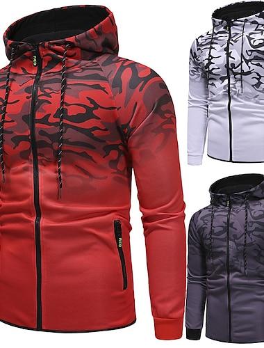 мужской камуфляжный спортивный костюм спортивный костюм толстовка с капюшоном на молнии с капюшоном и брюками (бюст: 38 дюймов / бирка: l, z-серый)