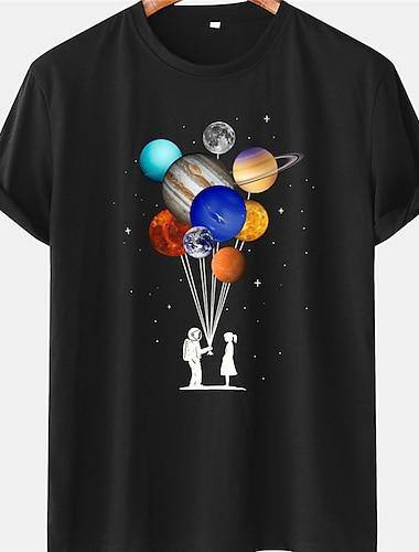 Per uomo Unisex Magliette maglietta Camicia Stampa a caldo Stampe astratte Astronauta Pianeta Taglie forti Manica corta Casuale Top 100% cotone Essenziale Originale Grande e alto Blu Giallo Nero