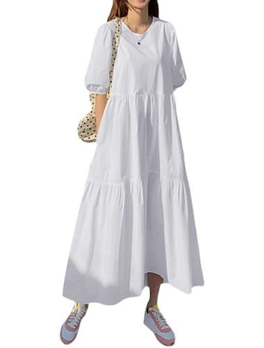 Γυναικεία Φόρεμα ριχτό από τη μέση και κάτω Μακρύ φόρεμα Λευκό Μαύρο Ρουμπίνι Κοντομάνικο Συμπαγές Χρώμα Άνοιξη Καλοκαίρι Καθημερινά 2021 Τ M L XL XXL XXXL 4XL 5XL / Βαμβάκι / Βαμβάκι