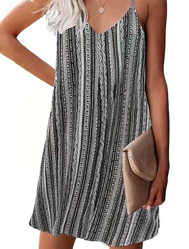Women\'s Strap Dress Short Mini Dress Blue Blushing Pink Light Brown Gray Sleeveless Striped Print Summer V Neck Sexy Loose 2021 S M L XL XXL