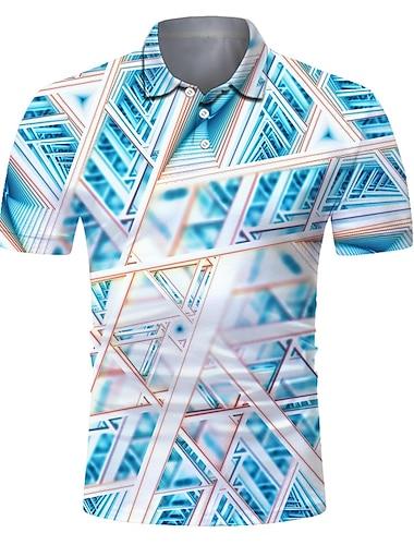 Hombre Camiseta de golf Camiseta de tenis Impresion 3D Geometria Abotonar Manga Corta Calle Tops Casual Moda Fresco Transpirable Azul Piscina / Deportes