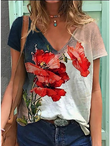 Dámské Tričko Květinový Rostliny Do V Topy Základní Základní top Bílá