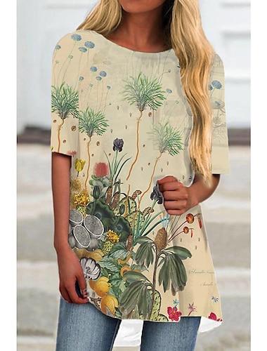 Dámské Tričkové šaty Krátké mini šaty Khaki Poloviční rukáv Květinový Tisk Tisk Jaro Léto Kulatý Na běžné nošení Dovolená 2021 S M L XL XXL 3XL