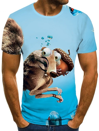 Herre Unisex T-Shirts T-shirt Skjorte 3D-udskrivning Grafiske tryk Egern Plusstørrelser Trykt mønster Kortærmet Afslappet Toppe Basale Mode Designer Stor og høj Rund hals Blå