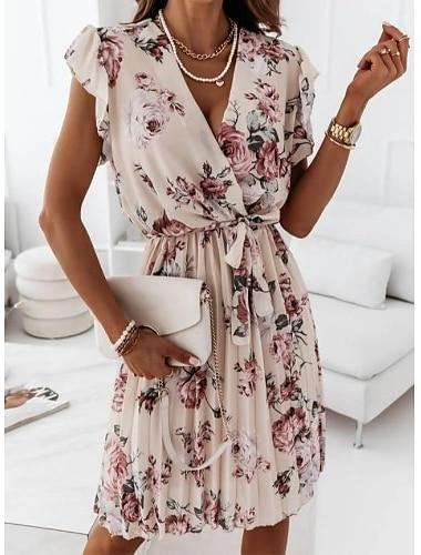Γυναικεία Φόρεμα σε γραμμή Α Φόρεμα μέχρι το γόνατο Θαλασσί Ανθισμένο Ροζ Μαύρο Σομόν Κοντομάνικο Φλοράλ Στάμπα Σουρωτά Με Κορδόνια Πλισέ Άνοιξη Καλοκαίρι Λαιμόκοψη V Στυλάτο Κομψό Καθημερινό