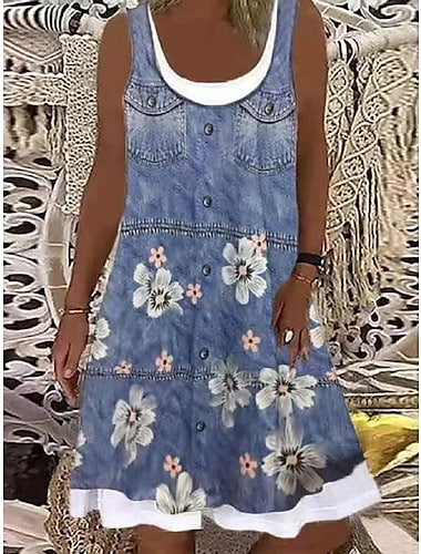 Mujer Vestido de cambio Vestido hasta la Rodilla Azul claro Sin Mangas Floral Estampado Primavera Verano Escote Barco Casual Festivos Corte Ancho 2021 S M L XL XXL 3XL
