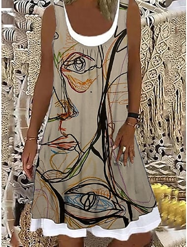Mujer Vestido de cambio Vestido hasta la Rodilla Caqui Sin Mangas Estampado Estampado Primavera Verano Escote Barco Casual Festivos Corte Ancho 2021 S M L XL XXL 3XL