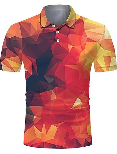 Homens Camisa de golfe Camisa de tenis Impressao 3D Geometria Botao para baixo Manga Curta Rua Blusas Casual Moda Legal Respiravel Laranja / Esportes