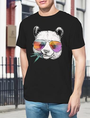 Per uomo Unisex Magliette maglietta Stampa a caldo Panda Animali Taglie forti Con stampe Manica corta Quotidiano Top 100% cotone Essenziale Casuale Rotonda Bianco Nero Grigio / Estate