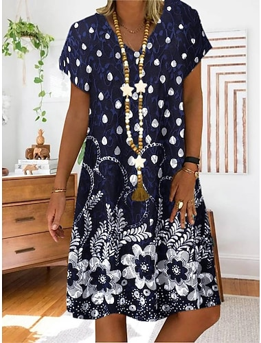 Γυναικεία Φόρεμα σε γραμμή Α Μίνι φόρεμα Ουρανί Ρουμπίνι Βαθυγάλαζο Κοντομάνικο Φλοράλ Μοντέρνο Στυλ Εθνικό & Θρησκευτικό Καλοκαίρι Λαιμόκοψη V Καθημερινό 2021 Τ M L XL XXL XXXL 4XL 5XL